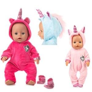 Image 1 - Pak + Schoenen Poppen Outfit Voor 17 Inch 43Cm Zapf Geboren Baby Pop Leuke Jumpers Rompertjes Pop Kleding