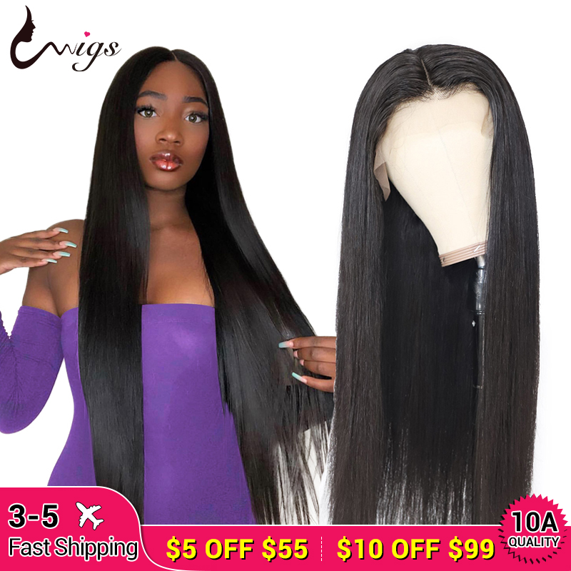 Uwigs Long Straight Lace Front Wig 28 30 32 34 36 38 40 Inches Lace Front Human Hair Wigs Pre Plucked Brazilian Remy Wigs