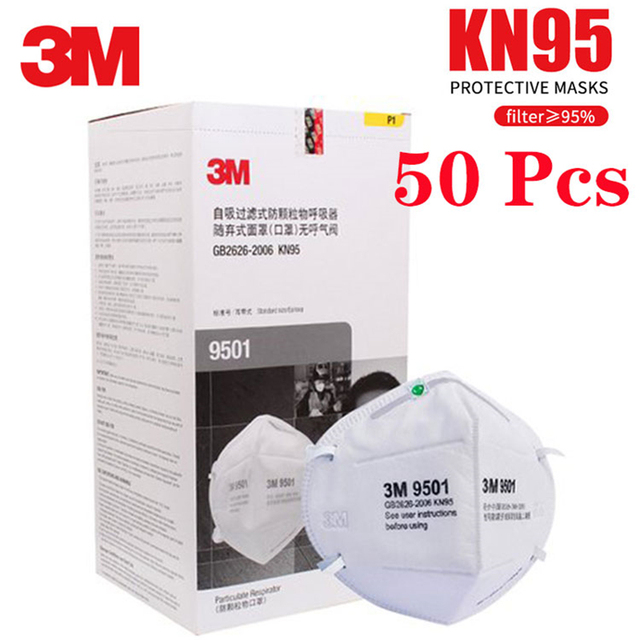 3M KN95 Mask 9501 Respirator Face Masks Anti haze PM2.5 Multi-layer filter Head mounted Cool Flow Valve Breathable Safety mask