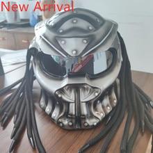 Motocicleta predator capacete de iluminação tira flexível rosto cheio dot alta qualidade casco moto depredador colorido lente