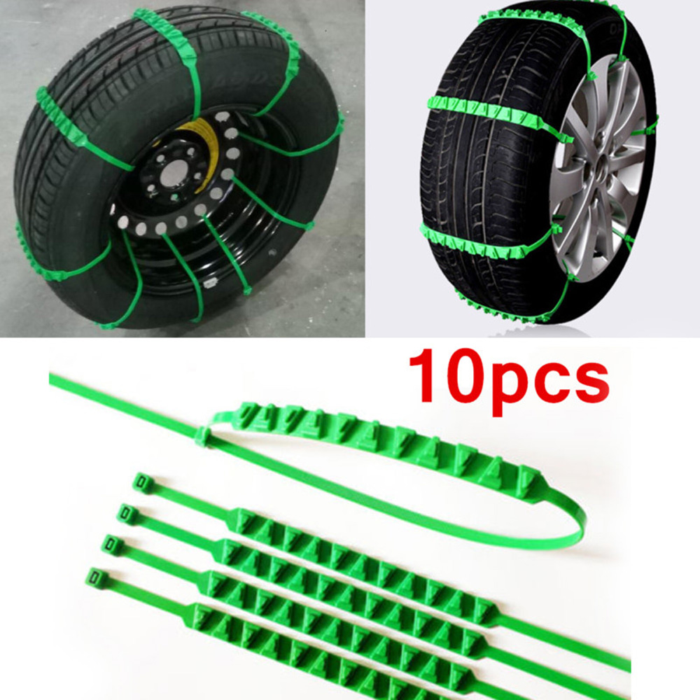 10Pcs Car Truck Snow Anti-skid Tire Chains Universal Vehicles Wheel Antiskid Chain Nylon Fit Tire Width 165-385 For Road Safety