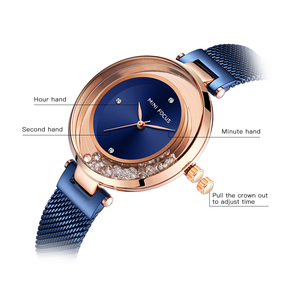Image 3 - MINI FOCUS Women Watches Luxury Brand Fashion Casual Ladies Watch Dress Quartz Rhinestone WristWatch For Womens Blue Clock
