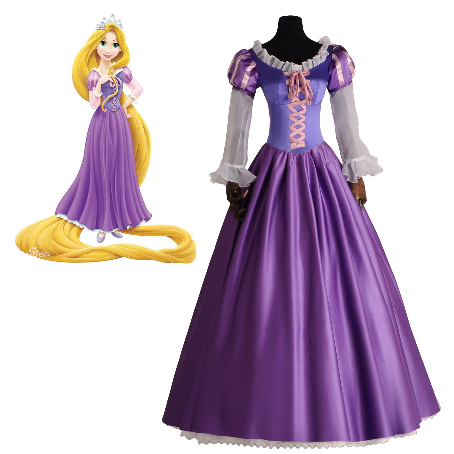 Adult Women Princess Rapunzel Cosplay Costume DramaCostume Girls Women Fancy Dress Purple Lace Up Ball Gown Party Dress