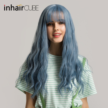 цена на Inhaircube 24 Hair Wig Womens Synthetic Half Long Natural Wavy Cosply with Bangs Descendants Medium Part Free Gifts Shipping