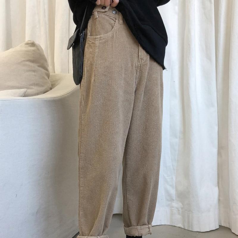 UUYUK Men Harem Relaxed Fit Casual Drawstring Corduroy Fall Winter Pants