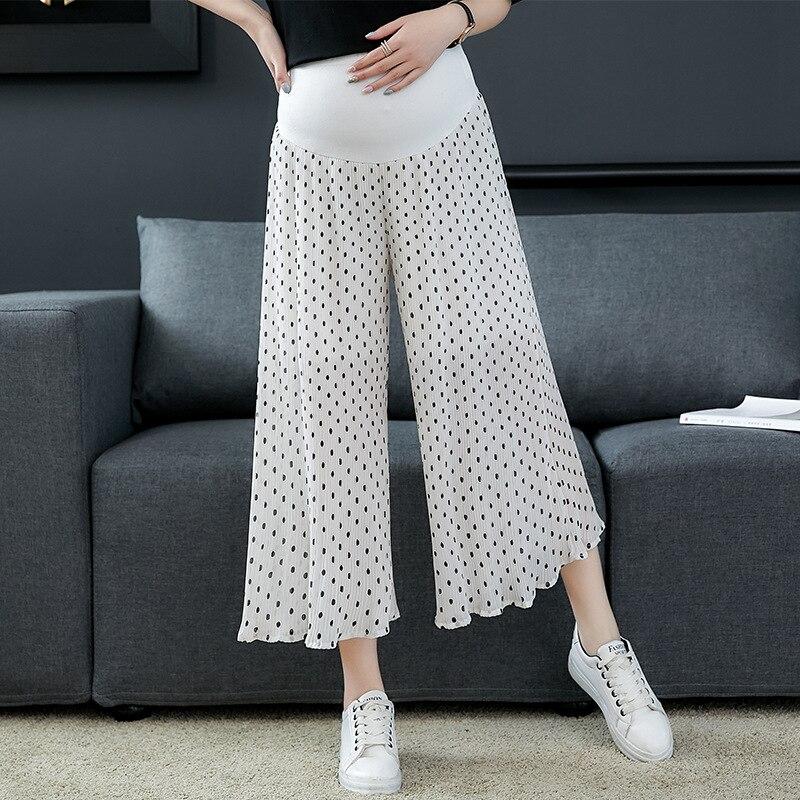 Pregnant Women Summer Wear Thin Pregnant Women Pants Pleated Wide-Leg Capri Pants Spring Summer Wear Loose Fashion Polka Dot