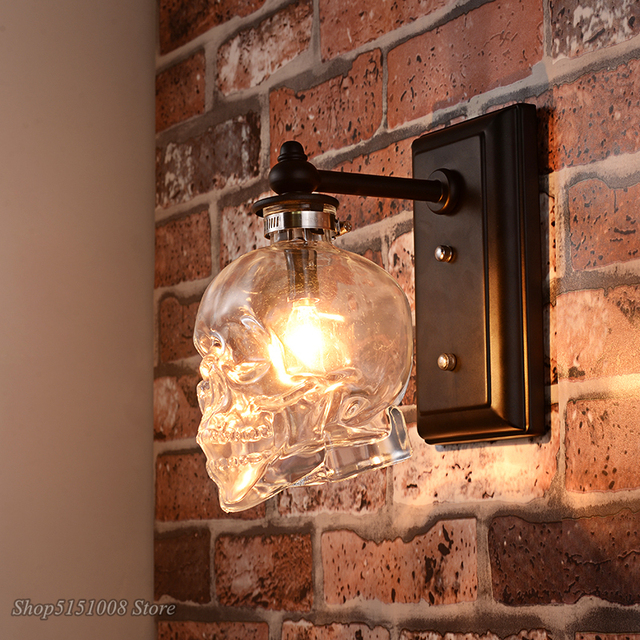 Skull Bones Wall Lamp Retro Loft Sconces Clear Glass Bottle Wall Art Light Fixtures for Dinning Room Bar Industrial Home Decor