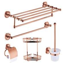 Европа Античный из розового золота, для ванной Hardawre аксессуары набор круглого основания полированная твердая латунная полка для ванной настенный подвесной буксир кольцо