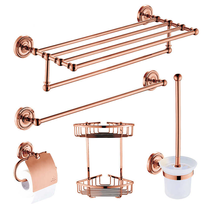 Europa Antike Rose Gold Bad Hardawre Zubehör Set Runde Basis Poliert Massivem Messing Bad Regal Wand Hängen Towle Ring