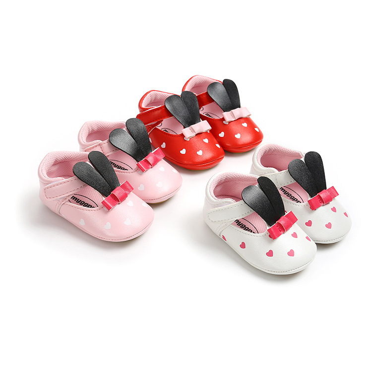 Baby Shoes Pu Leather Rabbit Cute Girls Shoes Newborn Baby Boys Girls Shoes Pattern Shoes Infant Toddler Soft Anti-slip Shoes