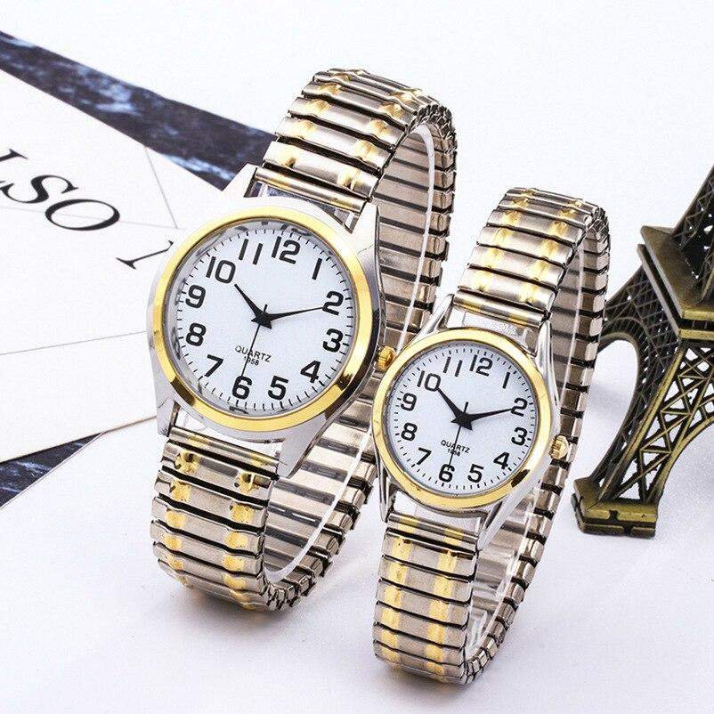 Fashion Business Women Men Elastic Gold Sliver Quartz Watch Tide Lovers Couple Party Office OL Black Point Bracelet Watches Gift
