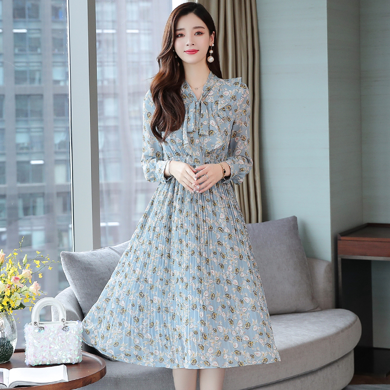 Bowtie Chiffon Floral Dress Korean Style Ruffle Pleated Long Sleeve Dress Women Fresh Sweet S XXL Blue Ladies Dresses Elegant in Dresses from Women 39 s Clothing