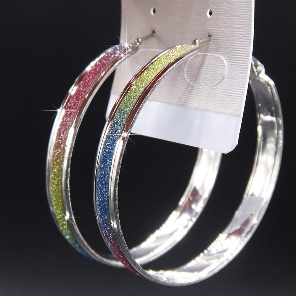 Лидер продаж, модные женские серьги-кольца с принтом зебры из матового серебра, большие вечерние ювелирные изделия, женские серьги в подарок - Окраска металла: colorful