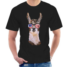 2020 New Men Fashion Summer Loose Clothes Merica Llama Patriotic Usa July 4 Sunglasses Funny Unisex Graphic Tees Shirt @003669