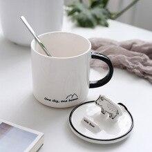 Wild Animals Cute Ceramic Mug with Lid Spoon Tea Milk Cups Home School Kids Mugcup Drinkware Waterware