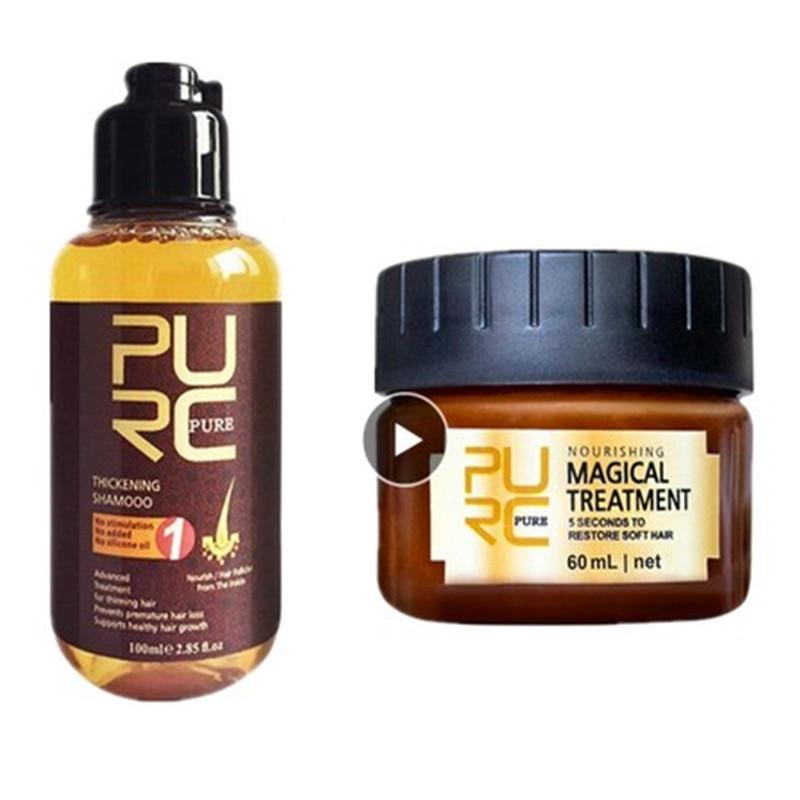 2PCS PURC Hair Mask And Shampoo Set Magical Treatment 5 Seconds Repairs Damage Restore Soft Hair 60ml Hair Types Keratin TSLM2