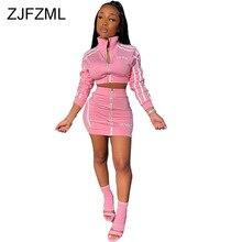 Zippers Striped Patchwork Two Piece Set Women Stand Collar Long Sleeve Crop