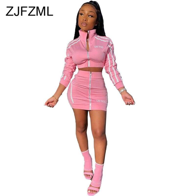 >Zippers Striped Patchwork <font><b>Two</b></font> <font><b>Piece</b></font> <font><b>Set</b></font> Women Stand Collar Long Sleeve Crop Tops+High Waist Mini Skirts 2 <font><b>Piece</b></font> Female Tracksuit
