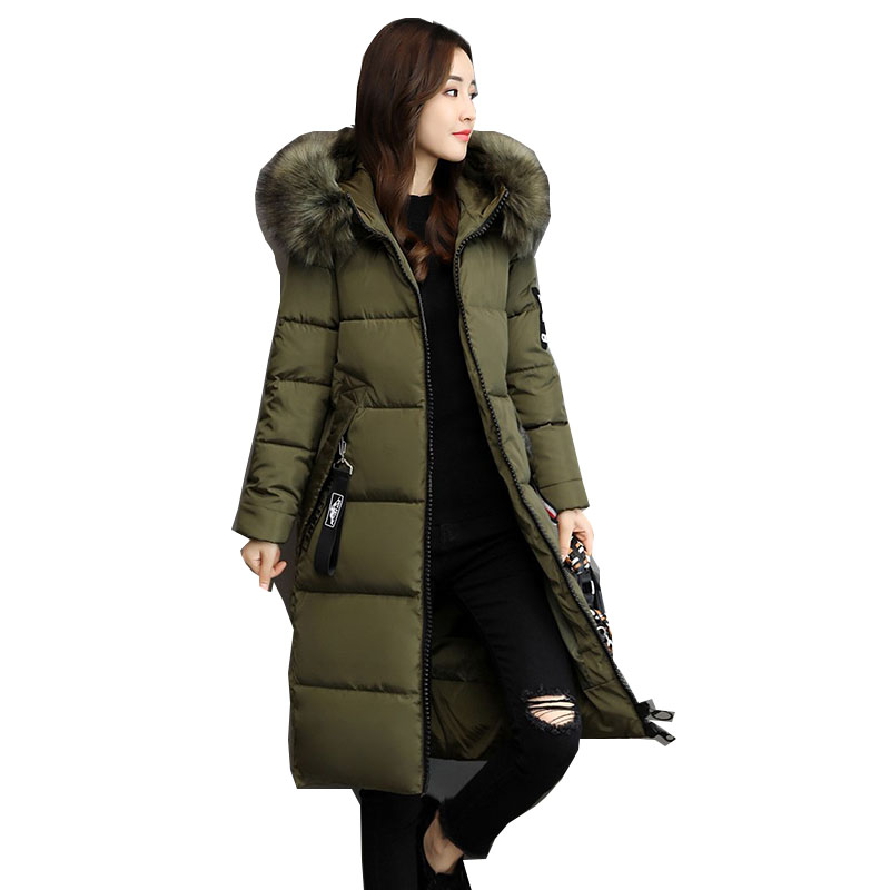 Winter Women Long Cotton Jacket 2019 New Fashion Hooded Fur collar Thickening Warm Coat Casual Loose Female   Parkas   NZYD260A