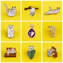 Soft Lovely Cats Badges for Clothes Cute Animal Enamel Pins for Backpacks Clothes Lapel Pin Badges on Backpack Badge Accessories leisurely cute cats badges for clothes animal enamel pins for backpacks clothes lapel pin badges for backpack badge jewelry gift