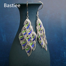 Bastiee Cloisonne Enamel Jewelry 999 Sterling Silver Feather Earrings For Women Miao Handmade Big Drop Dangle Earing Blue Ethnic mythic age gold color ethnic chinese element cloisonne enamel leaves dangle earrings wholesale jewelry for women girls new