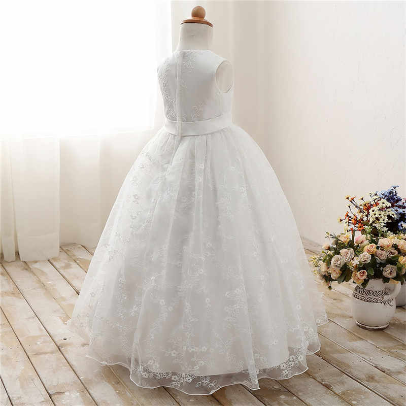 Blanco Encaje Flor Niña Vestidos Para Boda Prom Fiesta Evento Vestido Niños Princesa Chica Graduación Ceremonia Vestido 7 8 9