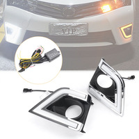 2x Auto Car LED Daytime Running Fog Light DRL Lamp Turn Signals For Toyota Corolla 2014 2015 White+Yellow Lights