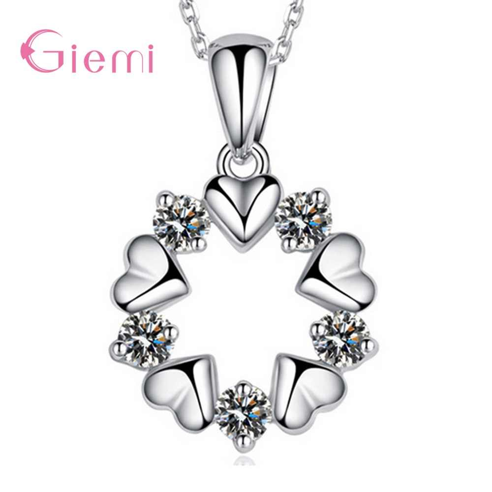 2019 New Arrival  Original S925 Sterling Silver Stunning Crystal 5 Love Hearts Round Pendant Chain Necklace For Women Jewelry