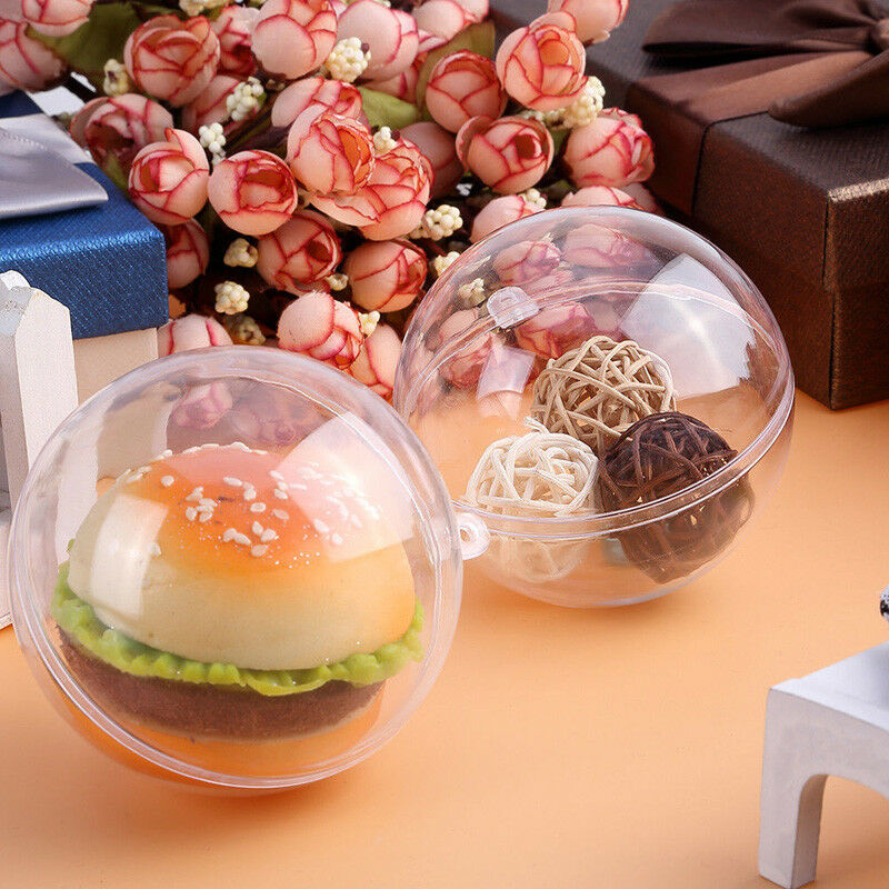5Pcs 2020 Christmas Pendant Clear Plastic Craft Ball Acrylic Transparent Sphere Bauble Xmas Gifts