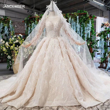 HTL805 ball gown wedding dress for women long sleeves o neck tulle bridal dresses with feathers veil vestido novia manga larga