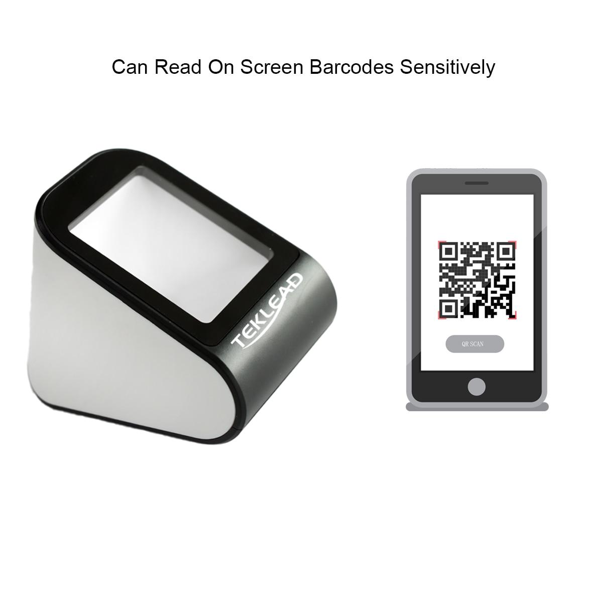 TEKLEAD Automatic 2D Barcode Scanner Hands-Free USB QR Barcode Reader For Mobile Payment For Store, Supermarket,Restaurant