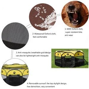 Image 3 - Taşınabilir Pet oyun kalem taşınabilir katlanır Pet köpek çadırı köpek evi sekizgen kafes kedi çadır oyun parkı köpek kulübesi kolay kullanım