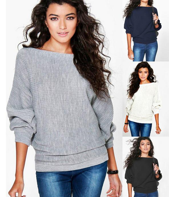 Women Casual Sweaters Autumn Winter Sweater Loose Long Batwing Sleeve Solid Pullovers Woman Female Thin Sweater Jumper Lady
