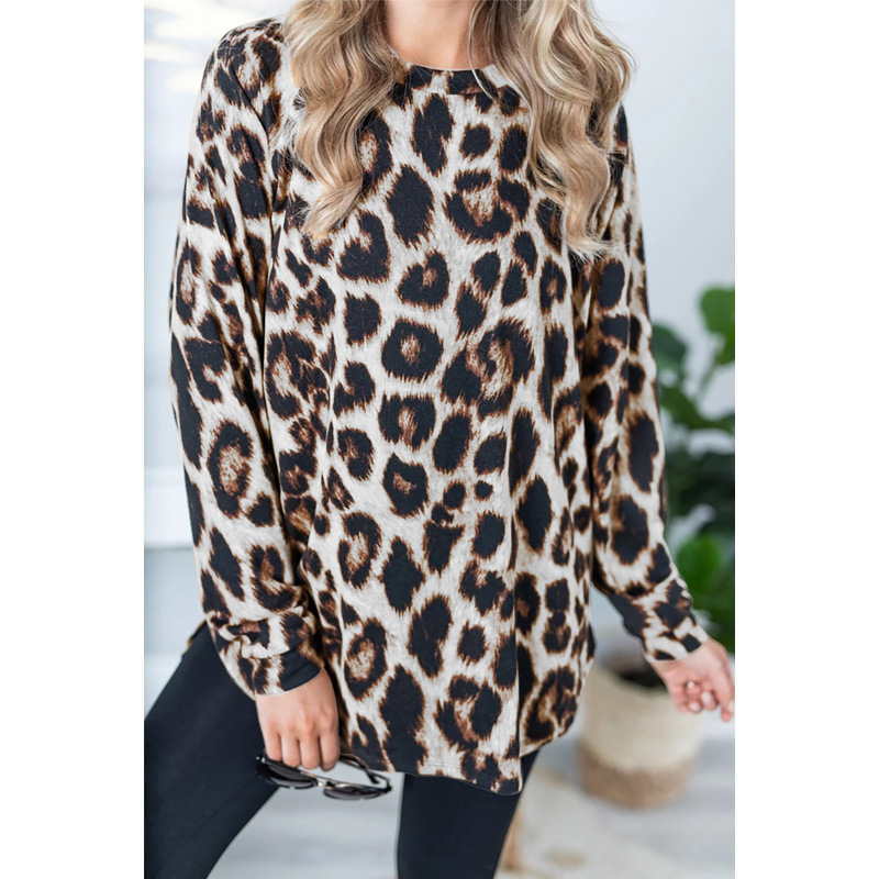Autumn Women Plus Size Leopard Print Tops Loose Shirt Round Collar Long Sleeve Tunic Midi Long Casual Womens Tops And Blouses