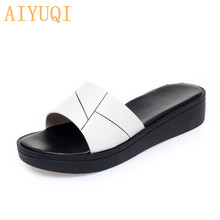 AIYUQI Women Slippers Flat 2020 Summer New Shoes Casual Large Size 41 42 43 White Outdoor