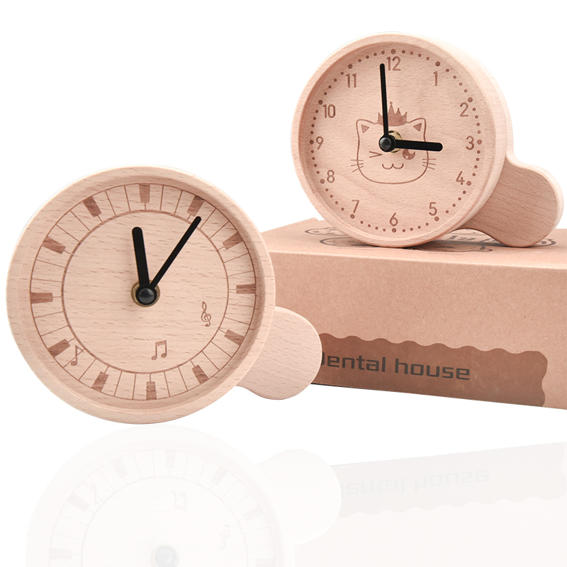 New baby solid wood clock / tooth box / urban animal simple style / tooth collection box / growth memorial clock / tooth box