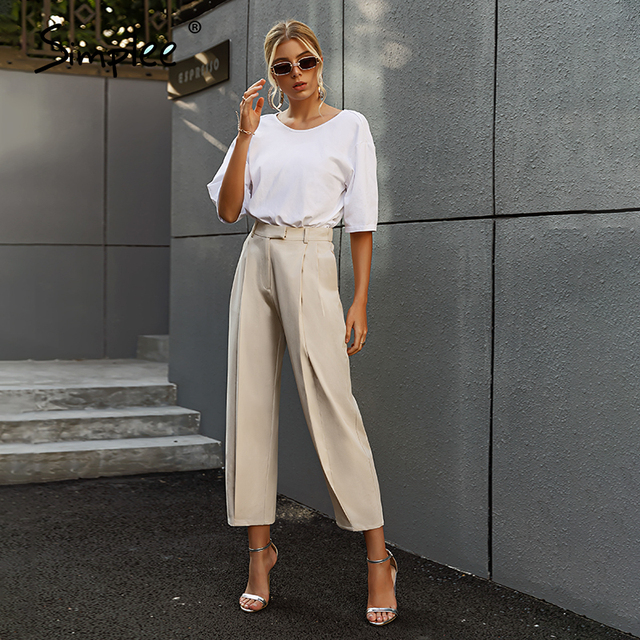 Solid High Waist Office Trousers 4