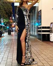 Felyn 2020最高品質の有名なブランドドレス固体スパンコールワンショルダーハイスプリットセクシーなセレブパーティーマキシドレスvestidos