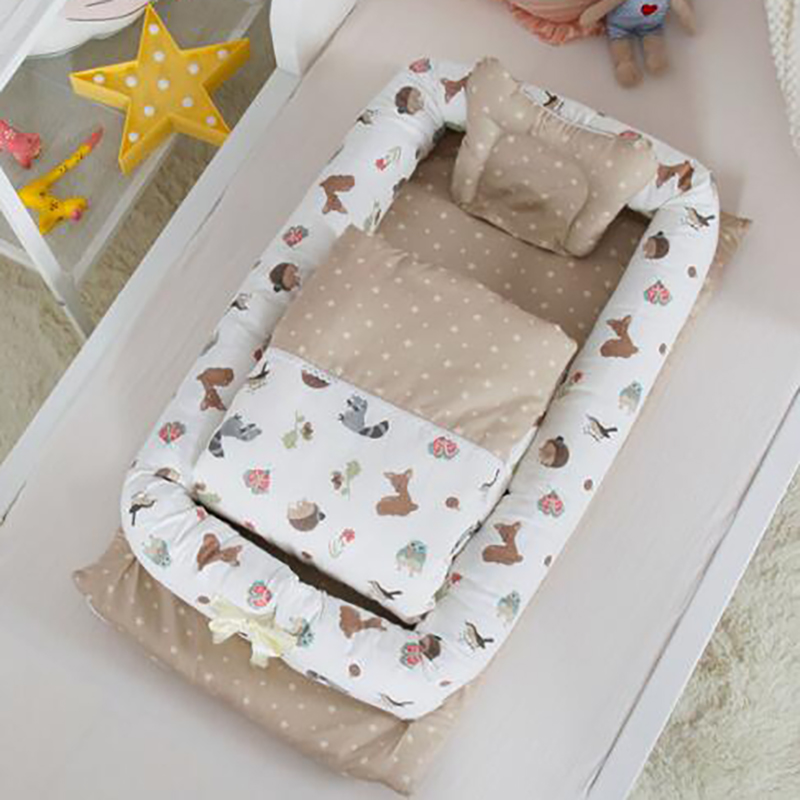 Baby Sleeping CribPortable Cot Nest Cotton Bumpers Infant Basket 3pcs/set Thick Toddler Bed 90*50*15cm YHM010