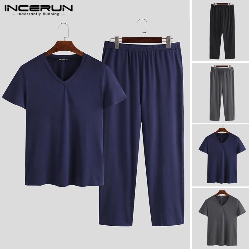 2020 Spring New Men Pajamas Sets Casual Short Sleeve V Neck Loose Pajamas For Men Solid Color Sleepwear Suit Homewear INCERUN