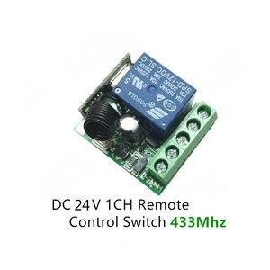 Image 2 - 433 433mhzのユニバーサルrfリモコンdc 24v 1CHリレー受信機モジュールガレージ/ドア/ライト/led/送風機/モーター/信号伝送