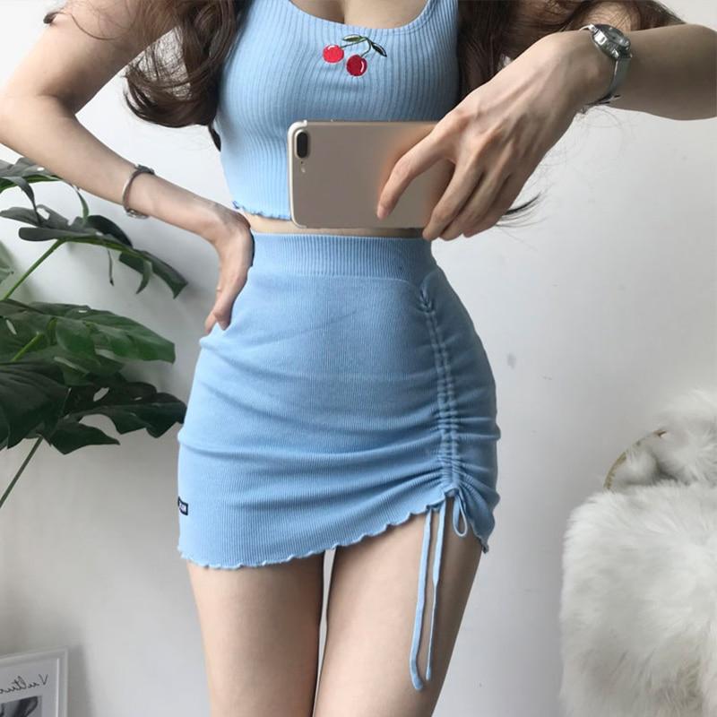 Elastic High Waist Knitting Women's Skirt Drawstring Sexy Hip Package Mini Skirts Female 2020 Summer Streetwear Ladies Bottoms