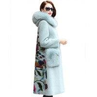 Winter Elegant Real Fur Coat Long Fox Printing Outwear Slim Plush Hooded High Quality Thick Warm Women Long Woolen Jacket Coat