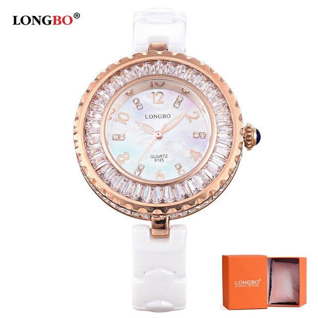 2019 LONGBO Original Brand Women Luxury Watches White Ceramic Quartz fashion waterproof rhinestone ladies wristwatch