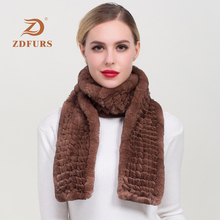 ZDFURS*New Arrival Russian Women Real Rex Rabbit Fur Scarves Ladies Winter Natural Knit  Shawls