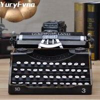 YuryFvna Metal Vintage Decorative Typewriter Figurine Model Props Typer Marking Machine Statue Home Office Shop Decoration