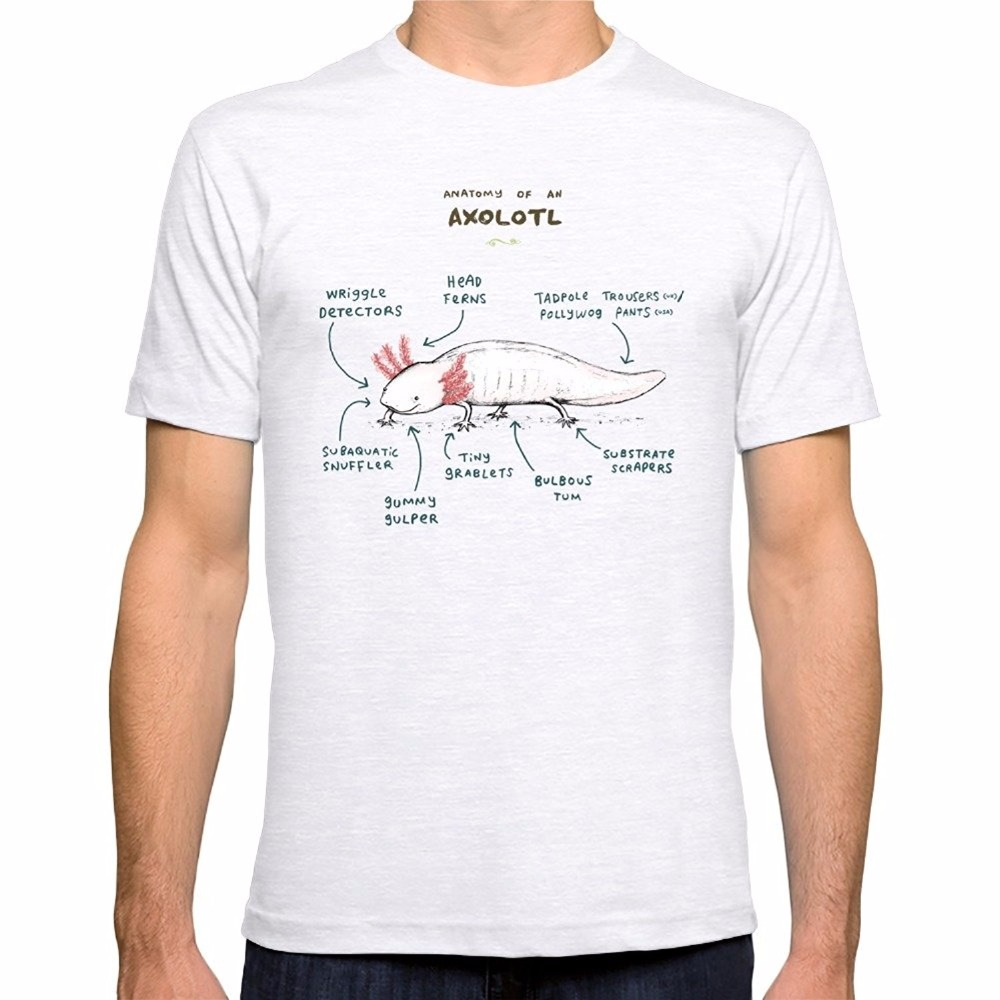 Novelty T Shirts O-Neck Anatomy Of An Axolotl Fitted Short Sleeve Office Tee For Men