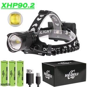 XHP90 Светодиодный налобный фонарь с наивысшей мощностью Фонарик XHP70 Фара 18650 Аккумуляторная USB Кемпинг XHP50 Водонепроницаемый налобный фонарь ...