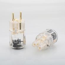 하이 엔드 schuko 플러그 eu 버전 오디오 전원 케이블 용 전원 플러그 24 k 금도금 수 플러그 암 iec 커넥터