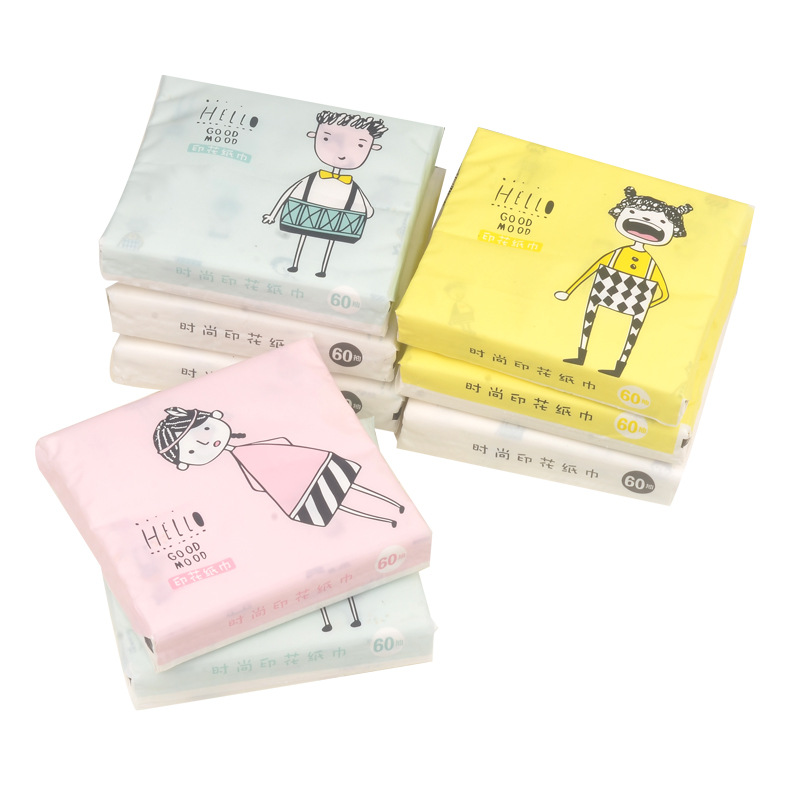 Printed Paper Extraction Cute GIRL'S And BOY'S Paper Towel Soft Removable Tissue Portable Tissue Packets Mixed Batch